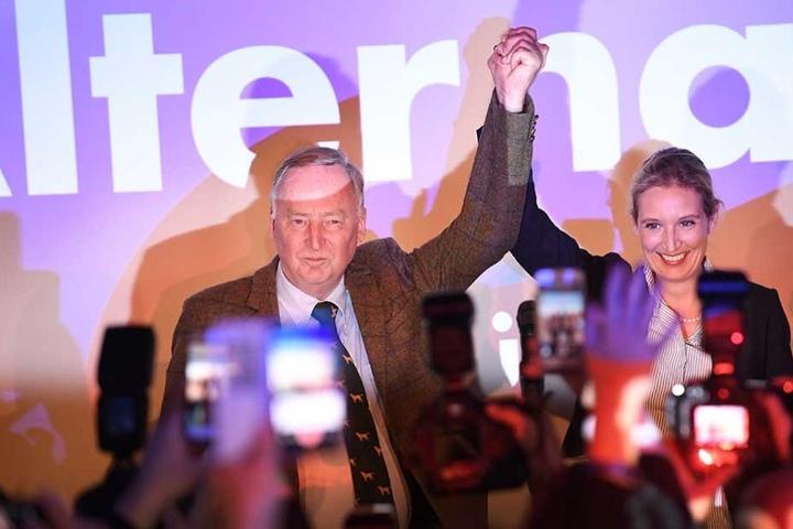 Alice Weidel und Alexander Gauland feiern das Wahlergebnis der AfD.