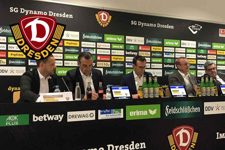 Das Podium ist nun gesetzt: Pressesprecher Henry Buschmann, Sportdirektor Ralf Minge, Geschäftsführer Michael Born, Präsident Andreas Ritter und der Ehrenratsvorsitzende Dr. Klemens Rasel (von links).