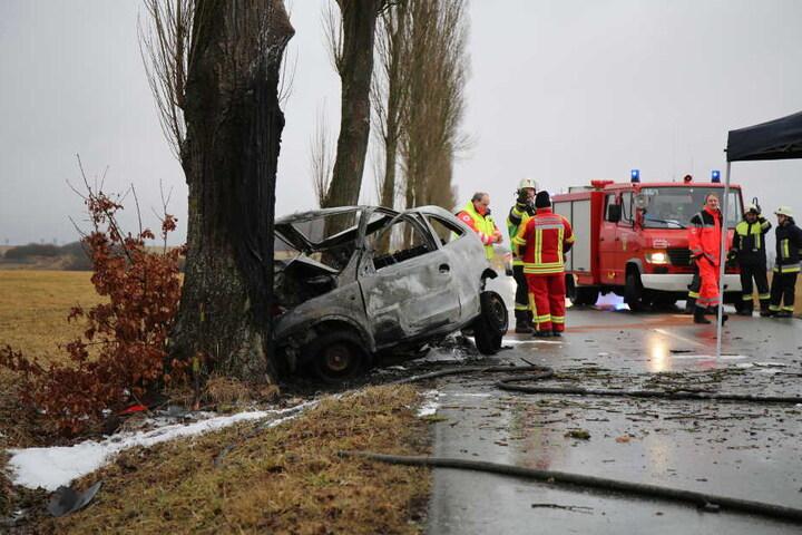 Ein Bild der Zerstörung. Das Auto prallte gegen einen Baum.