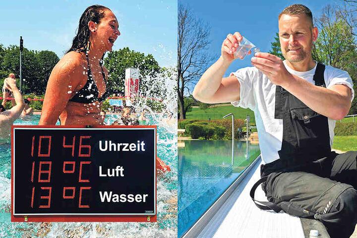 Na, ist da auch alles okay? Sven Lieberwirth (47) nimmt Wasserproben im Freibad Einsiedel.