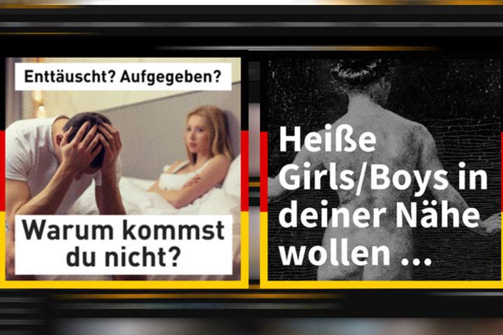 Diese Anzeigen sollen aktuell auf Pornoseiten zum Wählen animieren.