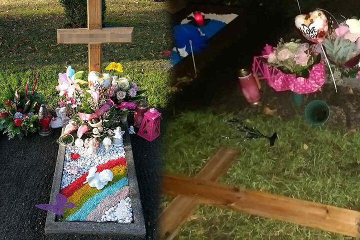 So liebevoll gestaltet sah das Grab (l.) vor der Attacke aus.