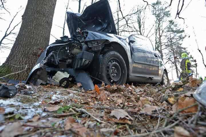 Der VW krachte frontal in eine Eiche.
