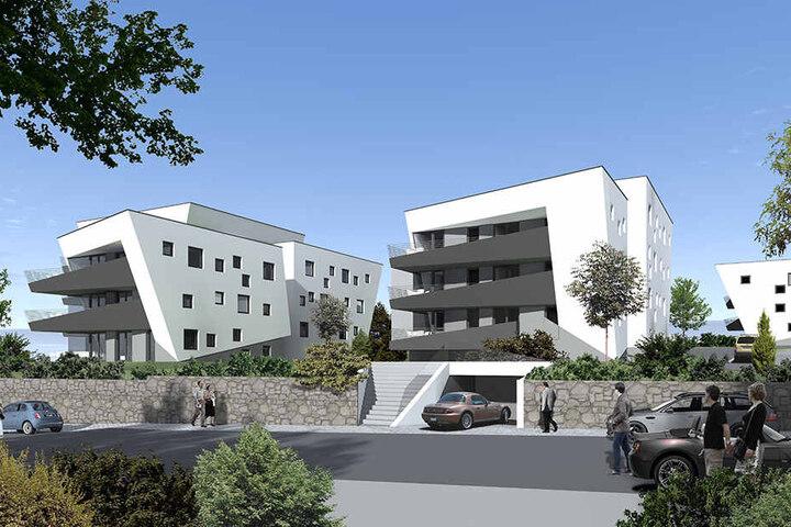 Futuristischer Hingucker: In vier Häusern entstehen 40 Drei- bis Fünf-Raumwohnungen.