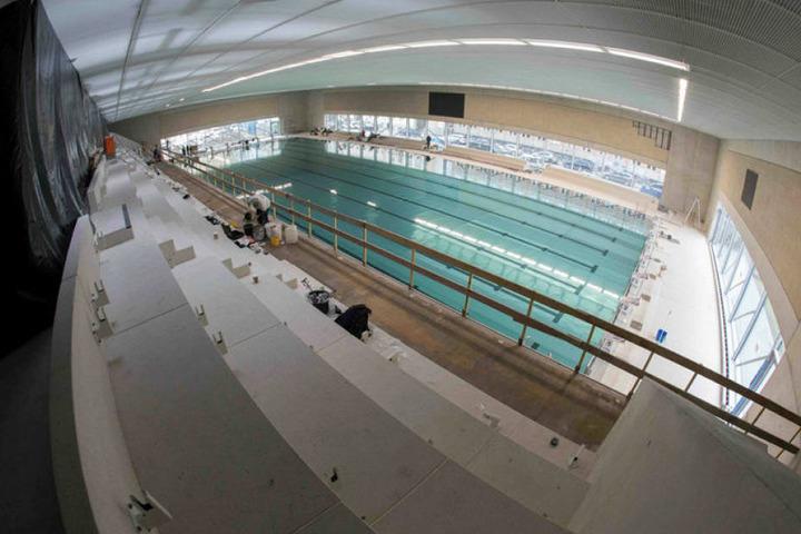 So schick ist die neue Schwimmhalle schon jetzt.
