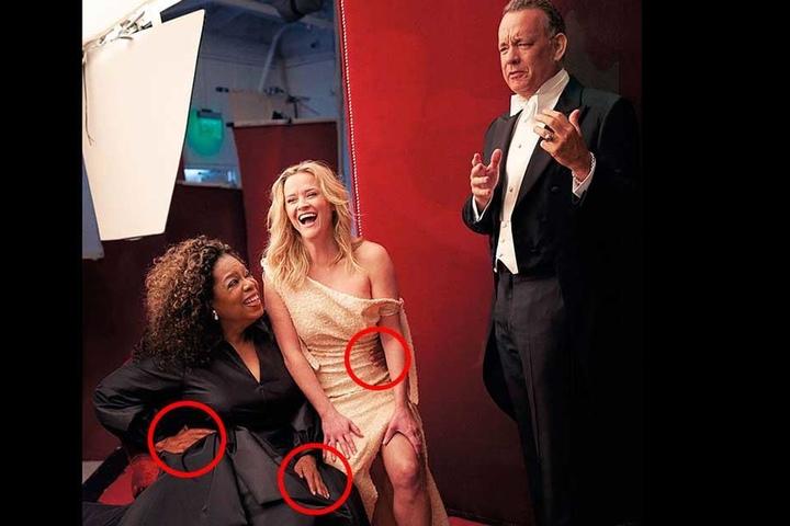 Operah Winfrey hat auf dem Making-Off-Foto gleich drei Hände.