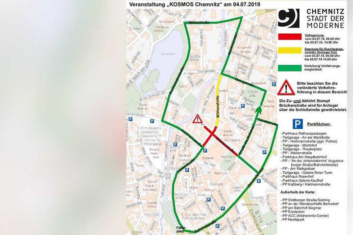 Das Festival Kosmos bringt ab Mittwoch bis Freitag erhebliche Verkehrseinschränkungen für die Chemnitzer Innenstadt mit sich.