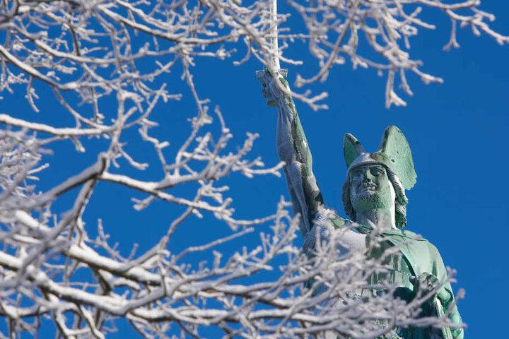 Ob es wohl so kalt wird, dass wir den Hermann überfroren sehen?