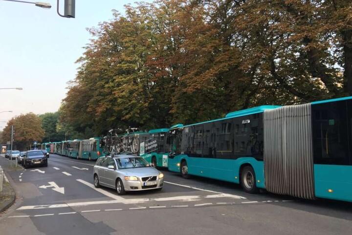 Busse stehen bereit, um die Menschen in die Betreuungsstellen zu bringen.