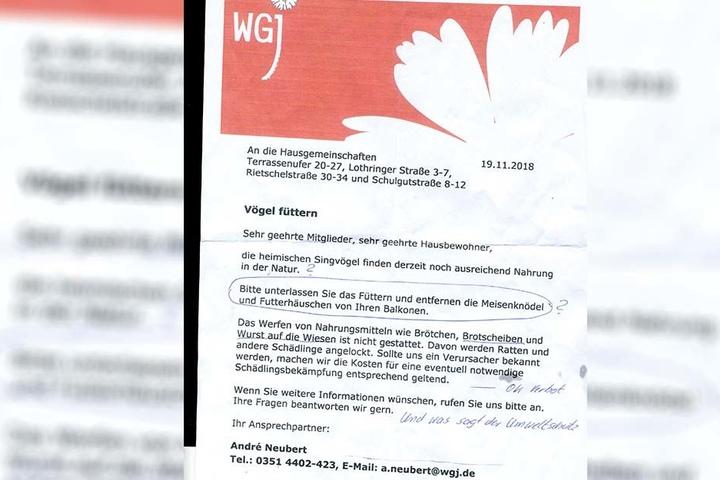 Mit diesem Rundschreiben schockte die WGJ die Vogelfreunde unter ihren Mietern.
