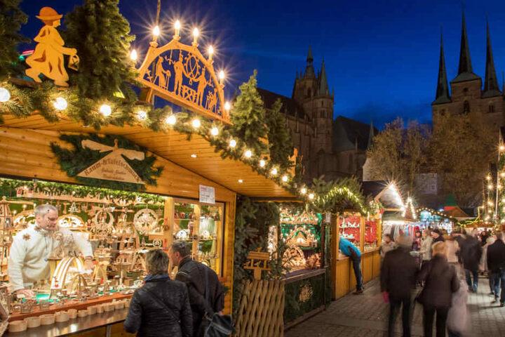 Der Weihnachtsmarkt in Erfurt wurde letztes Jahr von rund zwei Millionen Menschen besucht.