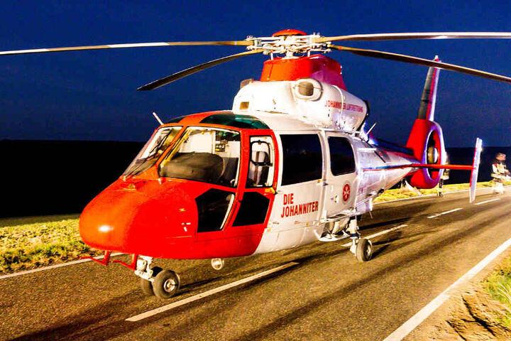 Ein Rettungshubschrauber brachte den Verwundeten in eine Klinik.