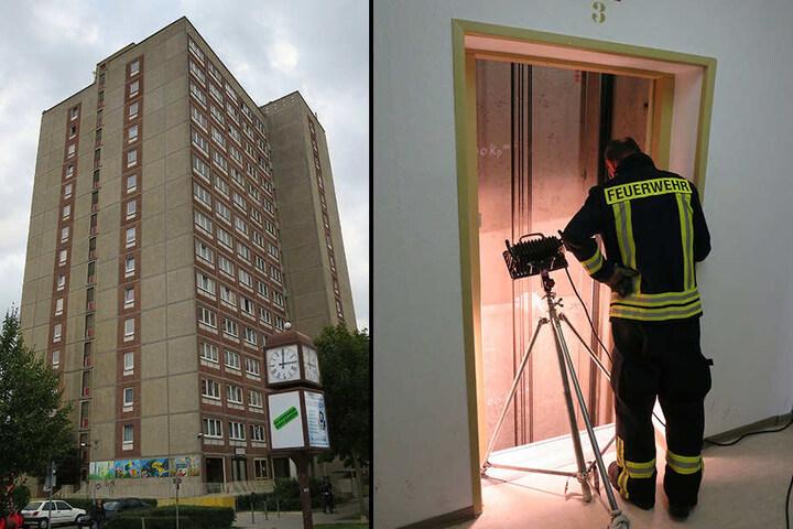 Das Leipziger Horrorhaus in der Stuttgarter Allee 30 (l.). Ein Feuerwehrmann schaut sich eine Brandstelle im 3. Stockwerk an (r.).