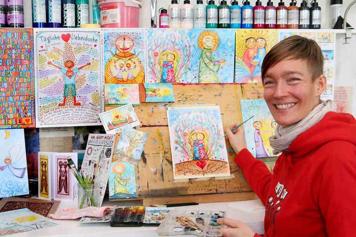 Ulrike Hirsch in ihrem Atelier in Grimma.