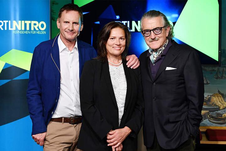 Peter Illmann (von li, re), Stefanie Tücking und Dieter Meier 2016 in Berlin bei RTL-Nitro.
