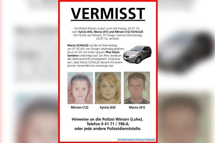 Mit diesem Plakat suchte die Polizei nach der Familie.