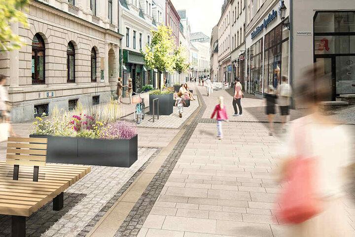 Pflanzkübel, Bänke und neuer Bodenbelag sollen die Einkaufsmeile heimelig machen.