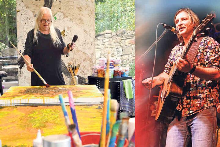 """Stelldichein von Künstlern und Kunstinteressierten:  Auch Dirk Zöllner (55, """"Die Zöllner"""") spielte schon zweimal im Kunsthof Gohlis."""