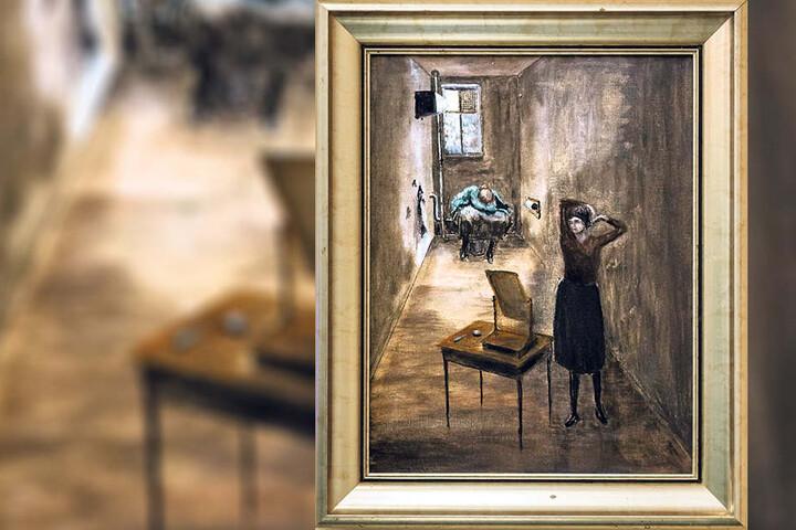 """Ringelnatz' Ölgemälde """"Beschaulichkeit"""" (1927) ist eines von drei Bildern, die in Wurzens Besitz übergehen könnten. Es zeigt ein WC auf halber Treppe."""