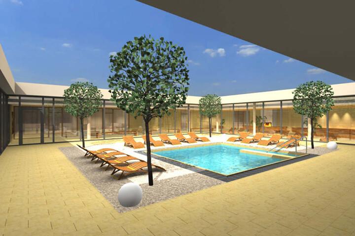 Eine heiße Sache: Im neuen Atrium-Bau werden 100 Leute in vier Saunen auf  einmal Platz finden.