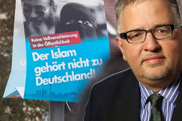 """Ein Wahlplakat der AfD mit dem Schriftzug """"Der Islam gehört nicht zu Deutschland"""" und Arthur Wagner von der AfD Brandenburg. (Bildmontage)"""