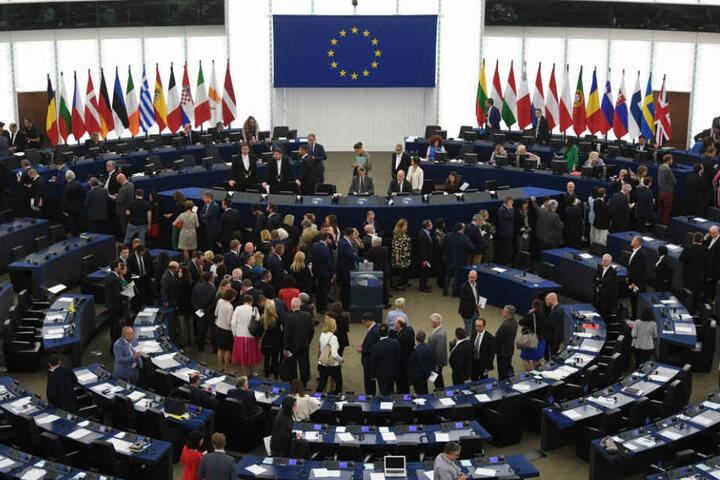 Abgeordnete stehen im Europarlament. (Archivbild)