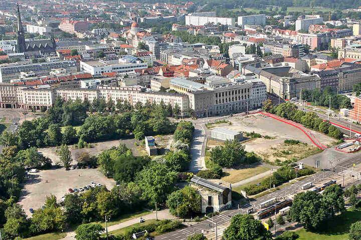 Zuletzt hatten mitunter Streitigkeiten um den Standort eines Denkmal zum Aus des Projekts geführt. Der Entwurf von 2014 war für den Wilhelm-Leuschner-Platz (hier rot eingerahmt) vorgesehen.