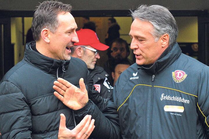 Die Trainer: Achim Beierlorzer (l.) und Uwe Neuhaus begrüßten sich freundlich. Nach der Partie war die Stimmung dann beim Gast nicht mehr ganz so gut.
