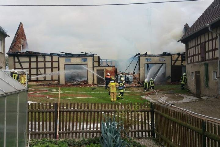 Die Feuerwehr löschte den Großbrand.