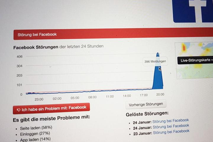 Gegen 20 Uhr meldeten hunderte Nutzer ein Problem.