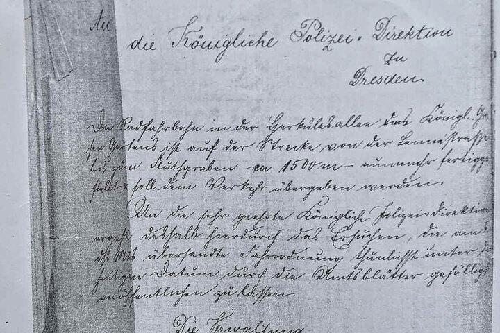 Dieses Dokument belegt die Eröffnung des Radweges am 20. November 1897.