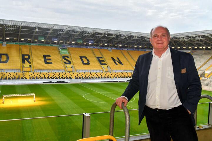 Hoeneß war am Donnerstag zu Gast im Rudolf-Harbig-Stadion in Dresden.