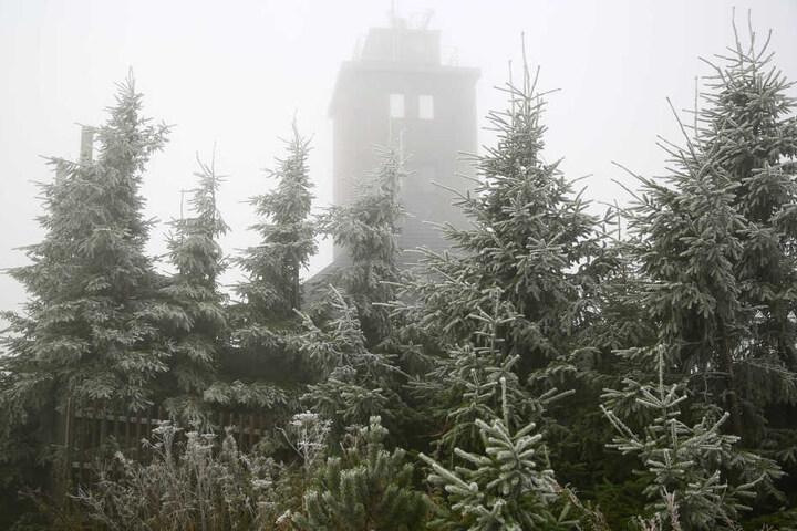 Einen ganzen Zentimeter Schnee gab es am Dienstag auf dem Fichtelberg.