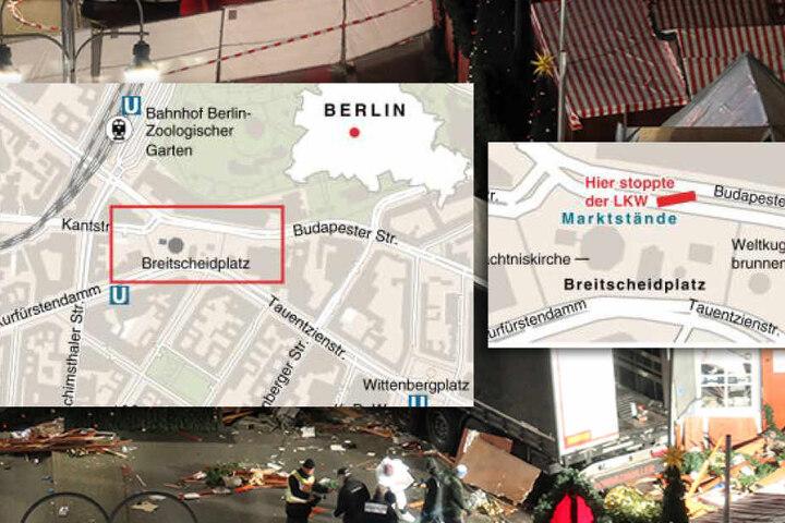 Die Karte zeigt, wo genau der Lkw in Berlin auf den Weihnachtsmarkt raste.