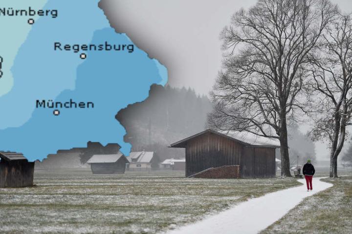 In Bayern wird es im Laufe der Woche auf in tieferen Lagen Schnee geben. (Bildmontage)