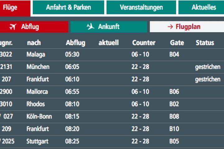 Die Flüge am Donnerstagmorgen nach München und Frankfurt sind gestrichen.