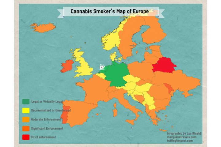 Diese Karte zeigt wo in Europa der Cannabis-Konsum legal oder illegal ist.