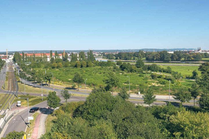 Auf diesem Areal in Mickten, fast direkt an der Elbe, entstehen ab Frühjahr  2017 insgesamt 460 neue Wohnungen.