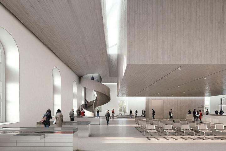 Der Siegerentwurf in der Visualisierung, rechts oben der Betonkubus für das Archiv. Das Büro Nieto Sobejano Arquitectos setzte sich damit gegen 102 Konkurrenten durch.