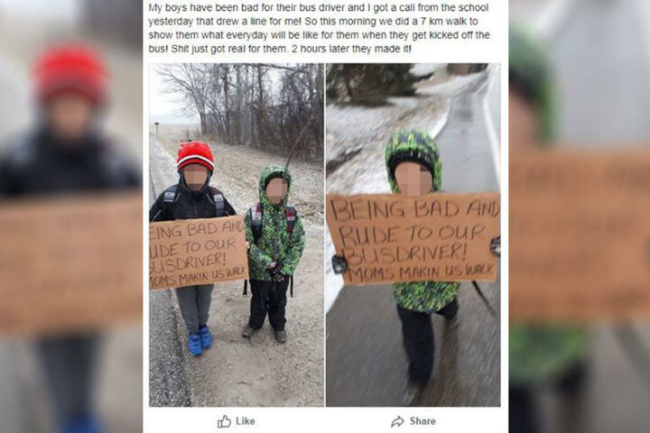 Auf Facebook postete die Mutter die Strafe für ihre Kinder.