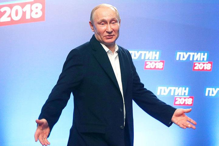 Der bisherige Staatschef verwies den Kommunisten Pawel Grudinin auf den zweiten Platz.
