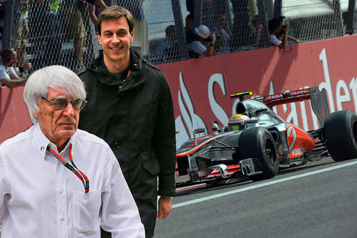 Der alte und der neue Chef? Toto Wolff (hinten) wird als Nachfolger von Bernie Ecclestone gehandelt.