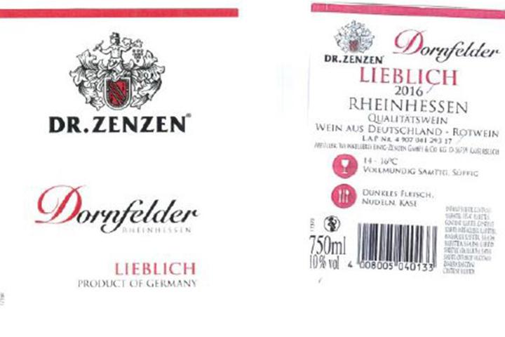 Die Flaschen mit Korkverschluss haben dieses Etikett.
