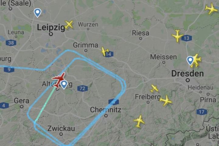 Mehrfach kreiste das Flugzeug über West- und Nordsachsen sowie über Ostthüringen.