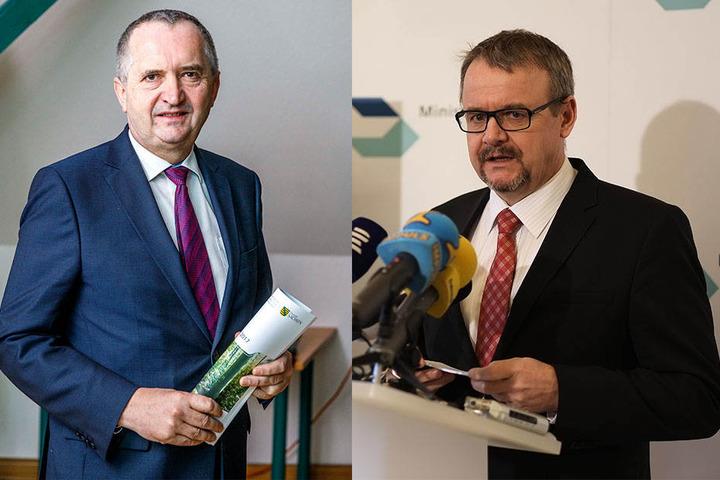 li.: Der sächsische Umweltminister Thomas Schmidt (56, CDU) kennt das bewilligte Konzept der Tschechen. Tschechiens Verkehrsminister Dan Tok (58, re.) treibt indes das Staustufen-Projekt voran.