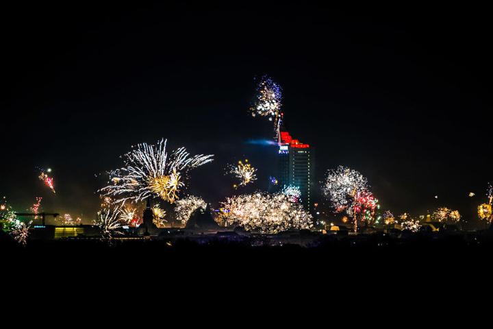 In der Silvesternacht 2016/17 hatte man vom Rosental einen perfekten Blick auf die beeindruckende Pyro-Show im Zentrum.