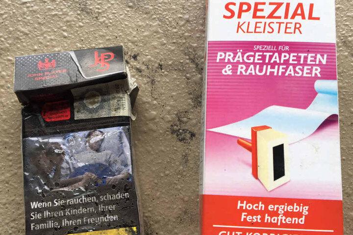 Der wertlose Inhalt: Zigaretten und Tapetenkleister!