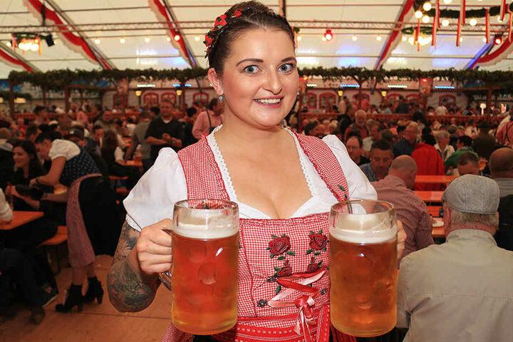 Die Maß kostet in Erfurt 9,50 Euro.