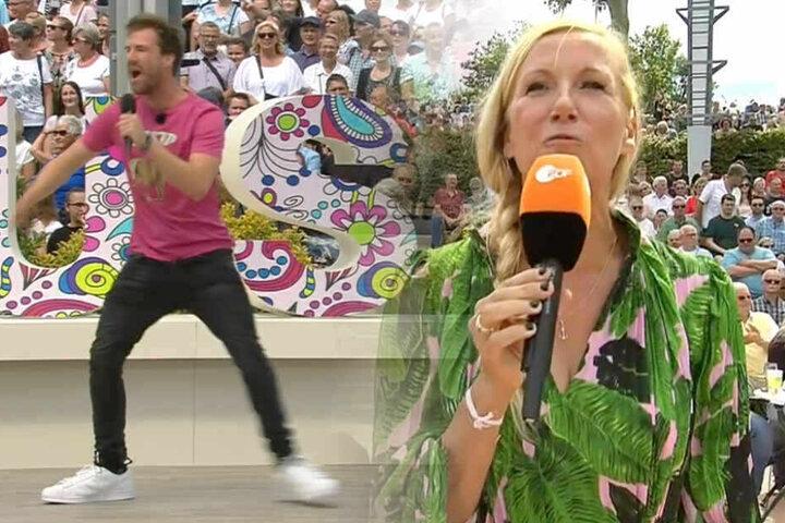 Fotomontage: Wird wohl nicht mehr von Moderatorin Andrea Kiewel zum ZDF-Fernsehgarten eingeladen: Comedian Luke Mockridge (l.).