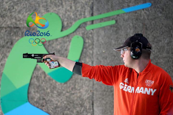 Reitzgewann mit der olympischen Schnellfeuerpistole Gold.